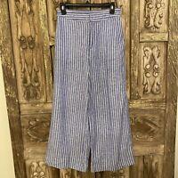 Lauren Conrad LC Women's Size 6 Pants Cropped Blue White Stripe Linen Wide Leg