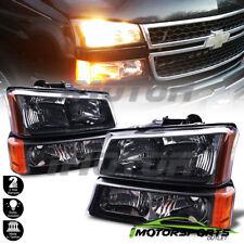 2003-2006 Chevy Silverado Black HeadLights+Signal Bumper Lamps