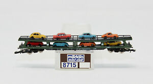 Z Scale Marklin 8714 DB Auto Transporter Car Carrier w/ 8 Car Load RARE
