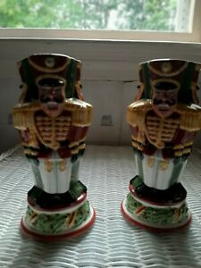 """Christopher Radko Holiday Celebrations pair of candle sticks soldiers 7.5""""H"""