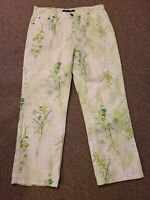 Vtg Bill Blass 100% Cotton Green Floral Tapered Leg High Waist Jeans Pants Sz 10
