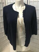 Women's Talbots 2X Navy Blue Comfort Soft Cotton Blend Button Cardigan