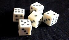 Five historic reproduction solid pip bone dice; c. 1cm