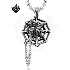 Silver spider web stainless steel chain pendant necklace soft gothic