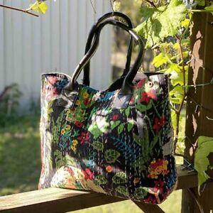 Indian Frida Khalo Black Cotton Kantha Leather handbags shoulder bag tote bag