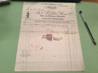 Glasgow Dempster Moore & Co Machine Tools & Steam Guages  1880 Receipt 50330