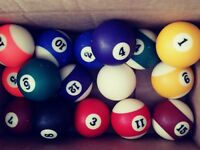 """Vintage Used Billard Ball Set 2-1/4"""" Pool with Cue Striped and Solid 16"""