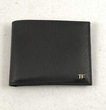 TOM FORD Grained Bi-Fold Leather Mens Wallet  - Black / Gold Hardware