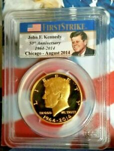 2014 W GOLD Kennedy PCGS PR70 First Strike CHICAGO ANA Proof DCAM   b14