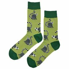 NWT Lemur Dress Socks Novelty Men 8-12 Green Fun Sockfly