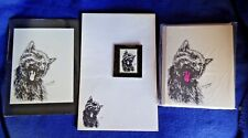 Yawning Cat 4 Piece Set-Notepad, 6 Blank Notecards, Print and Magnet New