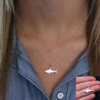Weißer Hai Anhänger Legierung Kette Ozean Tiere Halskette Frauen Schmuck