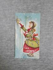 Vintage Christmas Greeting Card Victorian Girl Glitter