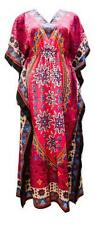 PLUS SIZE ABSTRACT ETHNIC FLORAL PRINT DRAWSTRING BATWING SLEEVE KAFTAN PINK