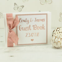 Personalised Rose Gold Wedding Guest Book