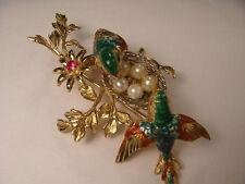 Wonderful Estate 18K Enamel Yellow Gold Seed Pearl Love Birds Brooch Pin