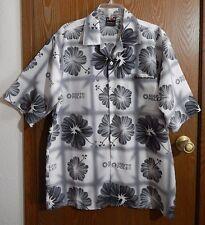 """SOUTH POLE Men's M 48"""" Chest White Gray Tiki Aloha Hawaiian Shirt"""
