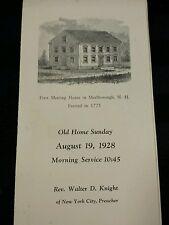 Vintage 1928 First Meeting House Marlborough, Nh Service Program