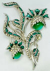Important Early Boucher Enameled Rhodium Pave And Emerald Moonstone Floral Pin