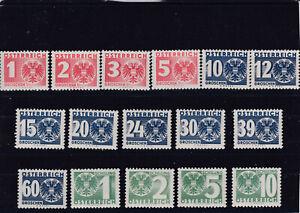 1935 Porto Ziffer mit Staatswappen 159 - 174 Postfrisch ** MNH