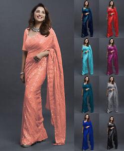 Madhuri Heavy Sequence Saree Blouse Beautiful Pakistani Sparkle Sequin Sari