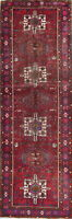 Vintage Tribal Geometric Oriental Hand-Knotted 3'x11' Red Runner Wool Rug