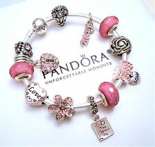 Authentic Pandora Silver Bangle Bracelet with Love Crystal European Charms
