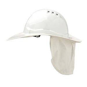 Prochoice SAFETY HARD HAT NECK FLAP Plastic Brim, Suits HHV6 WHITE *Aust Brand