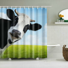 Shower Curtain Decor Set Milk Cow Pasture Meadow Grassland Design Bath Curtains