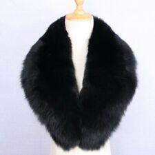 "39""Men&Women Black Real Fox Fur Collar 100cm Fuzzy Scarf Wrap Shawl Neck Warm UK"