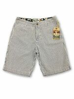 Tailor Vintage striped shorts in white and navy W32
