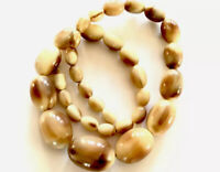 Vintage Carved Bovine Cow Horn Bead Necklace - Hidden Clasp - 20 Inches Long