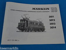 Marklin 3011 - 3012 - 3013 - 3014  Electric Locomotive    Replica booklet 0860