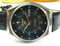 SEIKO 5 AUTOMATIC MENS STEEL VINTAGE JAPAN MADE BLACK  DIAL WATCH RUN ORDER 1