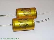 2pcs JENSEN 1.0uF 630V Hi-Fi Audio Pure TIN Foil Silver Leadout  PIO Capacitors