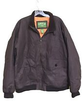 Orvis Winter Bomber Jacket Zip Flap Pockets Orange Lining Fuzzy Collar Mens L