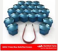 Blue Wheel Bolt Nut Covers GEN2 17mm For Skoda Fabia [Mk2] 07-14