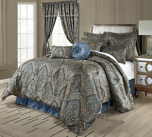 Elegant Gold Blue Medallion Paisley 9 pc Comforter Cal King Queen set or Curtain