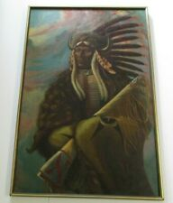 BECERRA PAINTING LARGE ICONIC NATIVE AMERICAN INDIAN CHIEF  PORTRAIT 1970'S