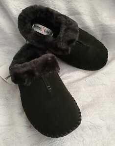 Minnetonka Suede Womens Carolina Clog Faux Fur Lined Black Slippers Sz 7 shoes