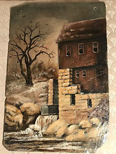 "Lovely Dorothy Riley ""Mill House Scene"" Oil On Slate Painting -Signed And Framed"