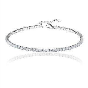 925 Sterling Silver Clear 2mm Tennis Bracelet CZ Cubic Zirconia Women Rhodium
