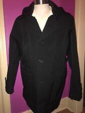 Prada Men's Virgin Wool Hooded Peacoat Long Jacket Italy Size 52 Winter Sgv406