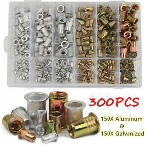 300pcs Mixed Rivet Nut Tool Kits Zinc Steel Riv-nut Insert Threaded Nutsert Set