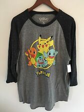 Pokemon Mens T-Shirt Long Sleeve Sz XL Pikachu Charmander NWT BLK/Gray Graphic