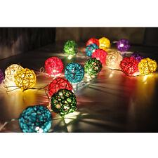 20-LED Battery Operated Diwali Decor Rattan Ball Shape String Lamp Fairy Lights