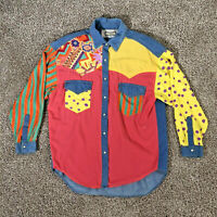 Hype Brand Pearl Snap Shirt Women's Colorful Western Shirt Ladies Size Medium