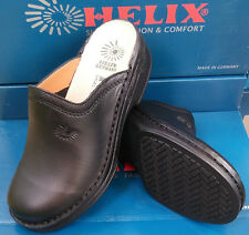 Helix Clogs schwarz SONDERPREIS Leder Fußbett Pantoffeln Pantoletten