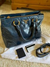 Prada Vitello shine tote Bag, denim blue leather,crossbody incl cards & dustbag