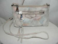 AIMEE KESTENBERG Purse Metallic Pink Blue Gold Brushed Suede Leather Crossbody